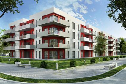 blok na osiedlu mieszkaniowym